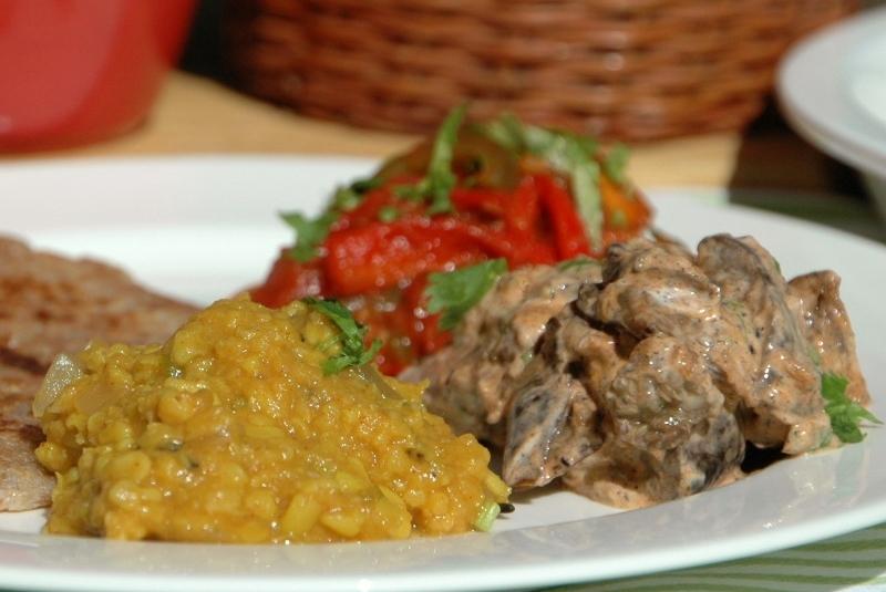 paneer eggplant dhal and roti