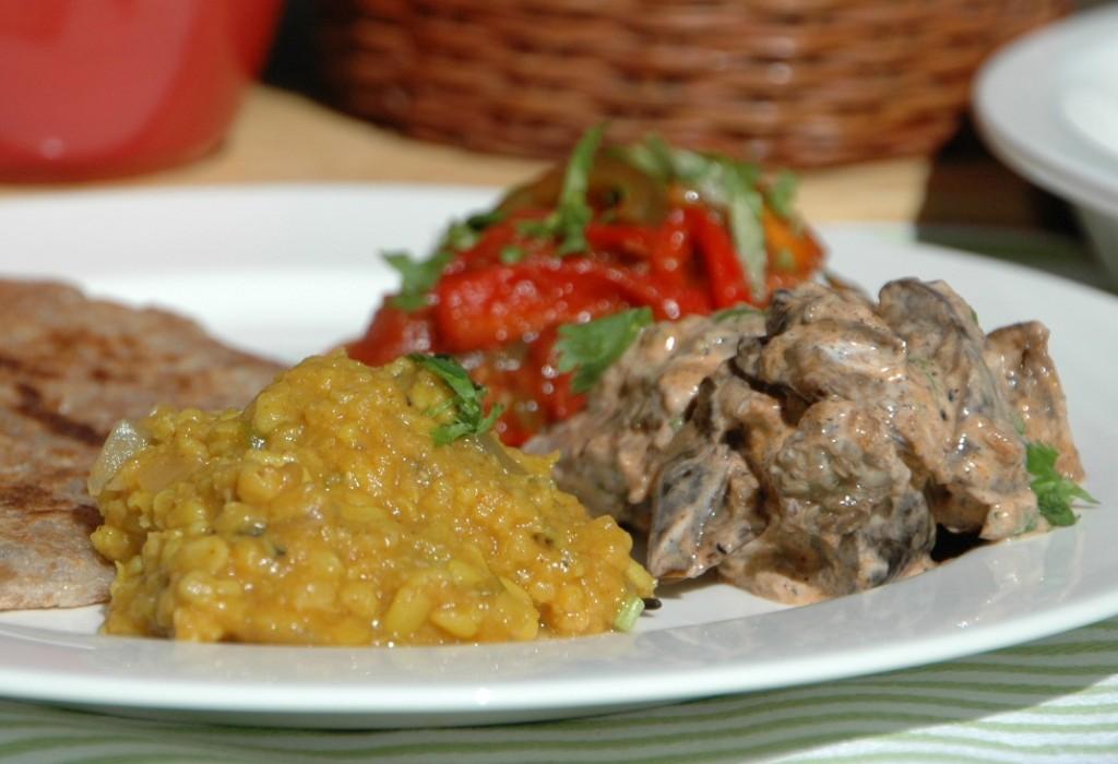 Paneer, Dhal, Eggplant and Roti