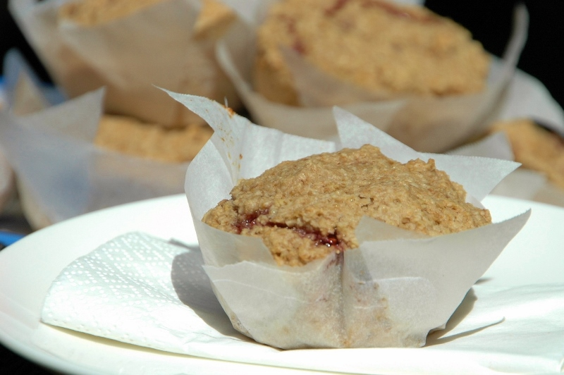 jam filled oatbran muffin