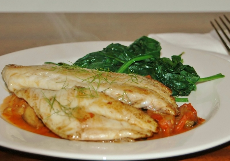 snapper with eggplant and tomato relish