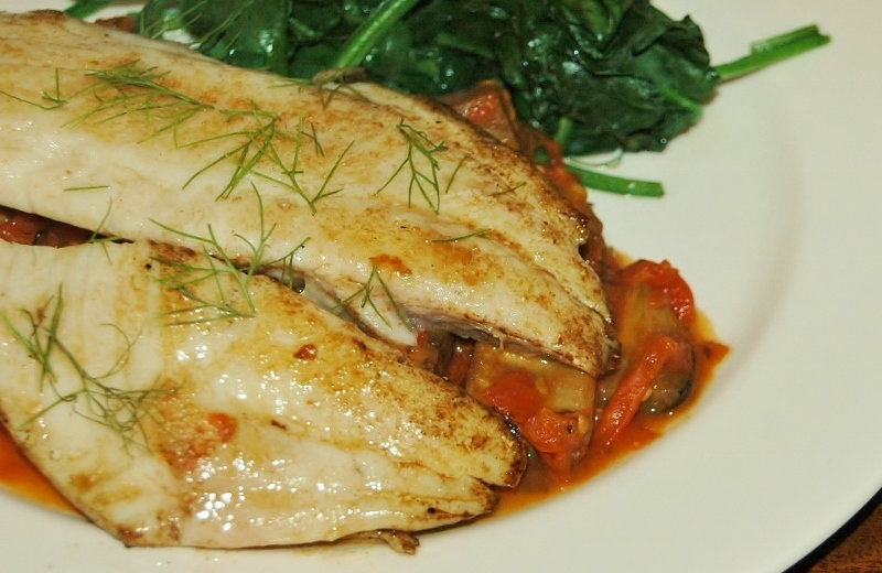 crisp skinned snapper with eggplant and tomato
