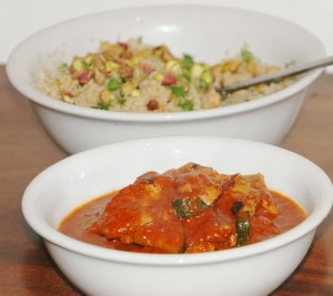 Harissa and Capsicum Chicken with Chickpea Cous Cous