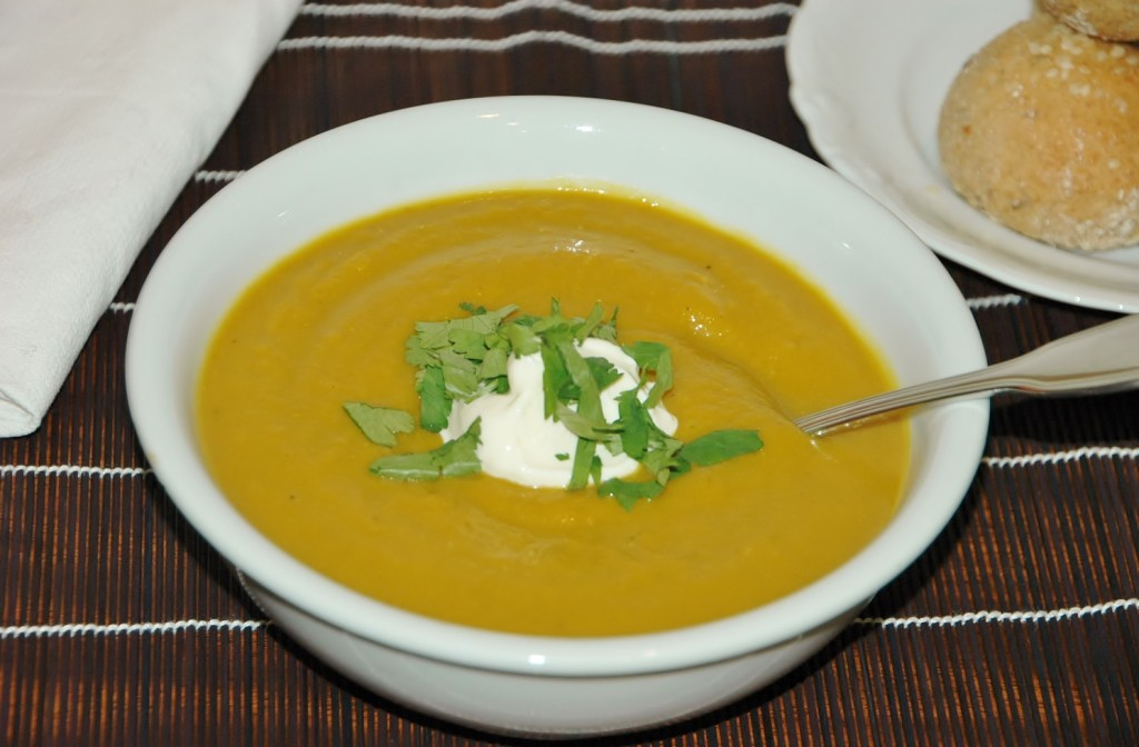 pumpkin leek and red lentil soup