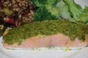 salmon with a lemon pesto crust