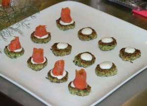 zucchini fritters topped with smoked trout