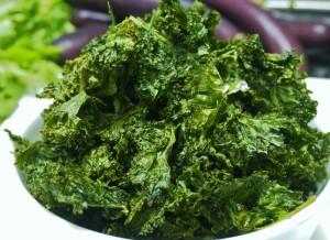 kale chips fresh out of the oven