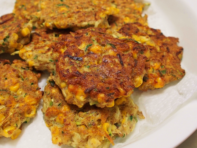 zucchini corn and basil fritters