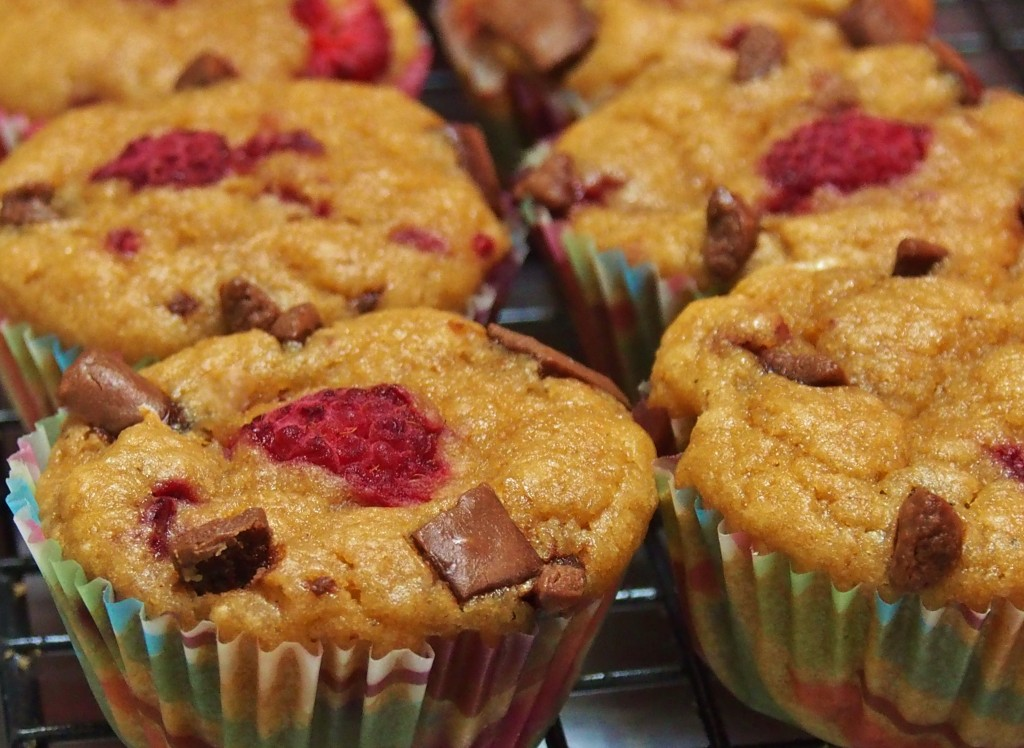 healthy raspberry and chocolate chip muffins