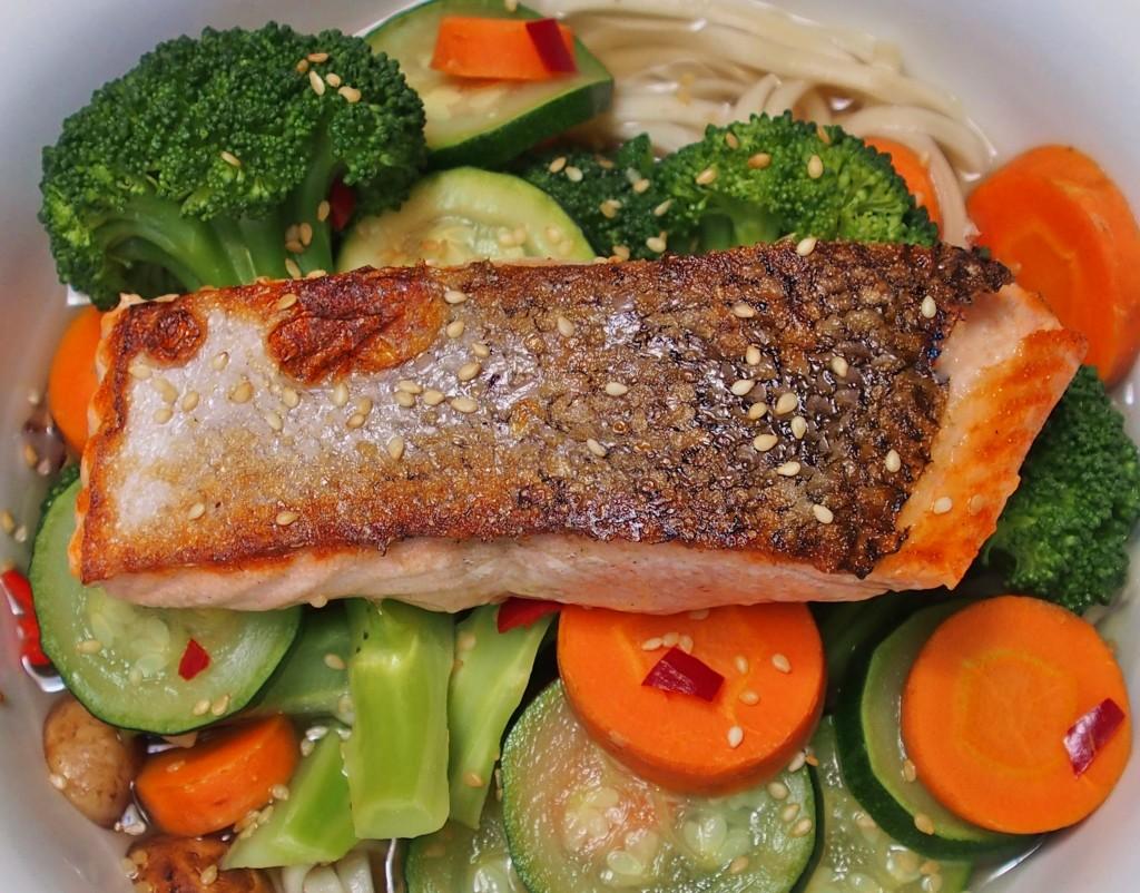 salmon udon noodle soup