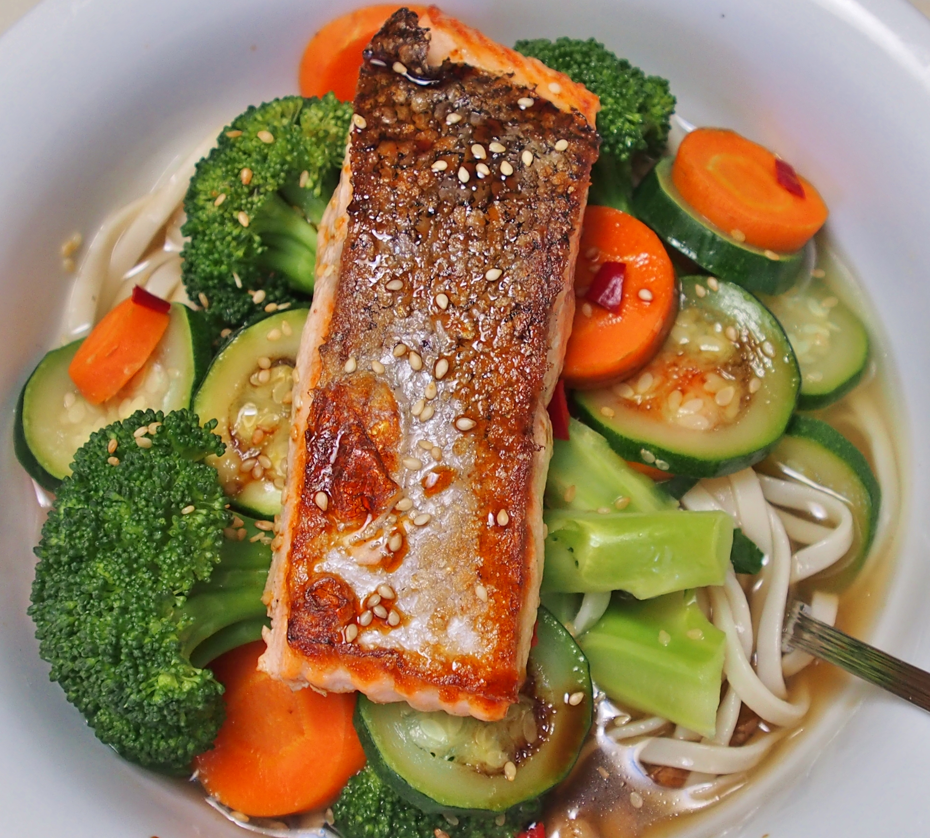 Salmon Udon Noodle Soup | Healthy Home Cafe