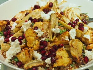 quinoa salad with fennel cauliflower goats cheese and pomegranate