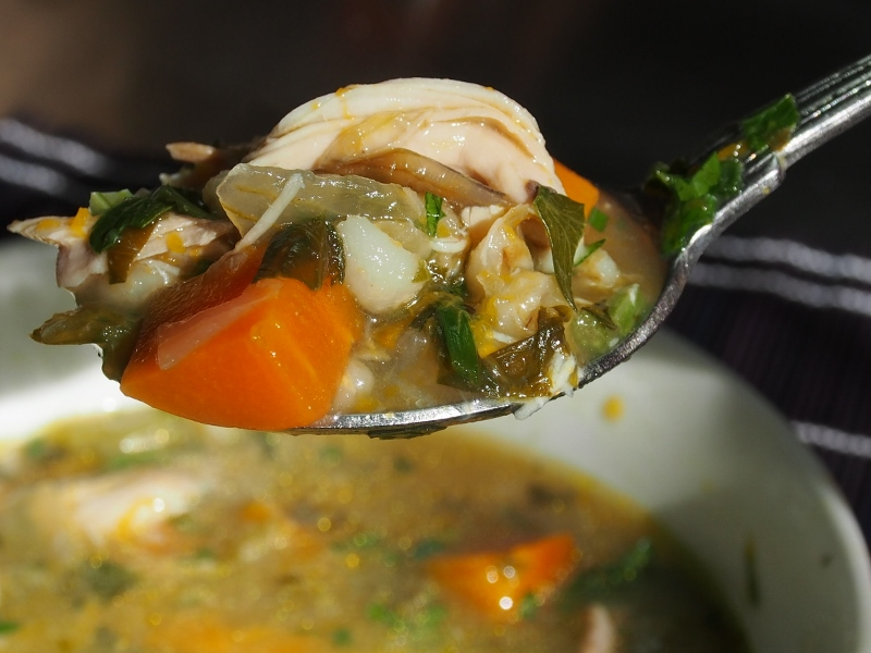 thick chicken barley and vegetable soup