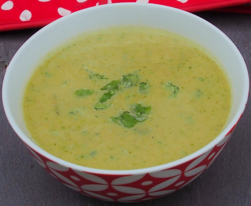 low fat zucchini corn and coriander soup