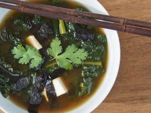 miso soup with kale