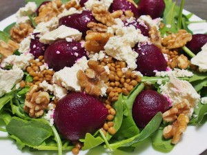 lentil beetroot feta and walnut salad
