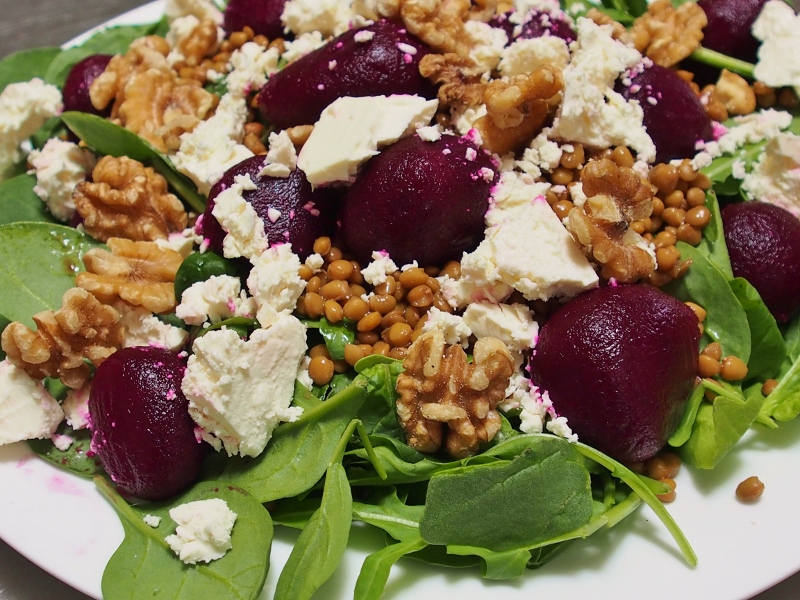 beetroot lentil and feta salad