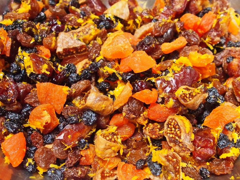 mixed dried fruit soaking in orange juice and brandy