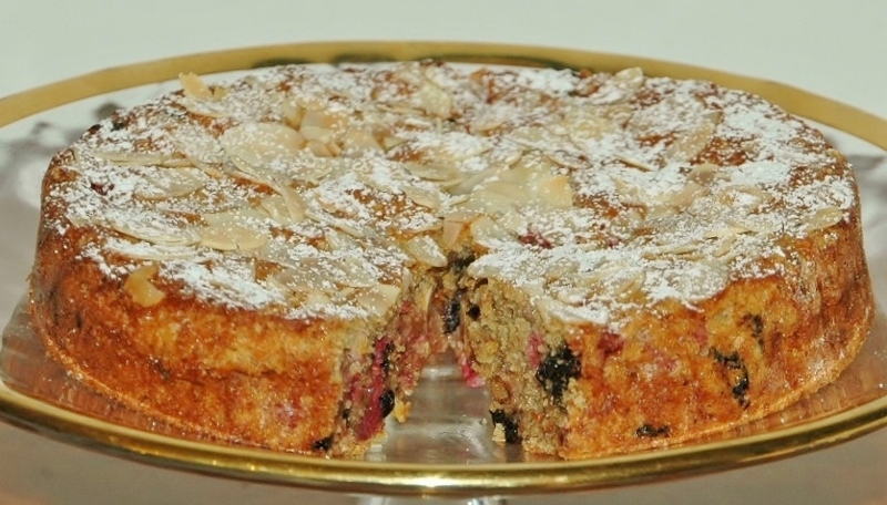 chocolate raspberry almond teacake