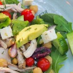 Greek salad with chicken chickpeas and avocado