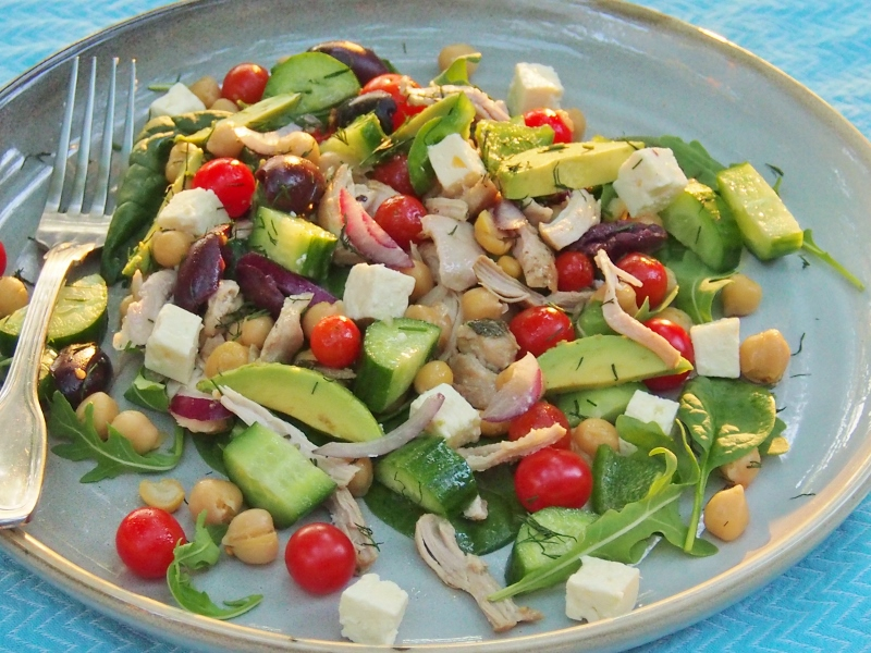 Greek salad with chicken avocado and chickpeas