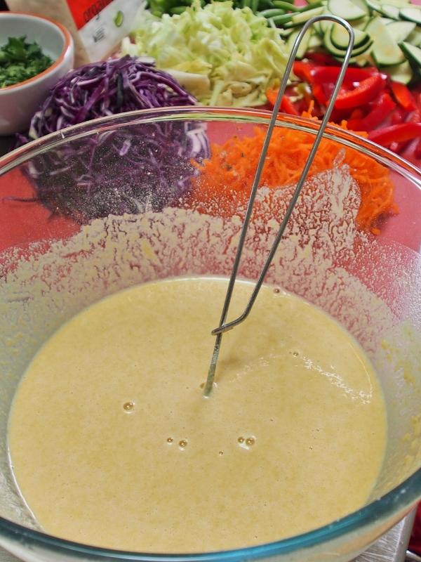 first make a 'pancake' batter, then add vegies