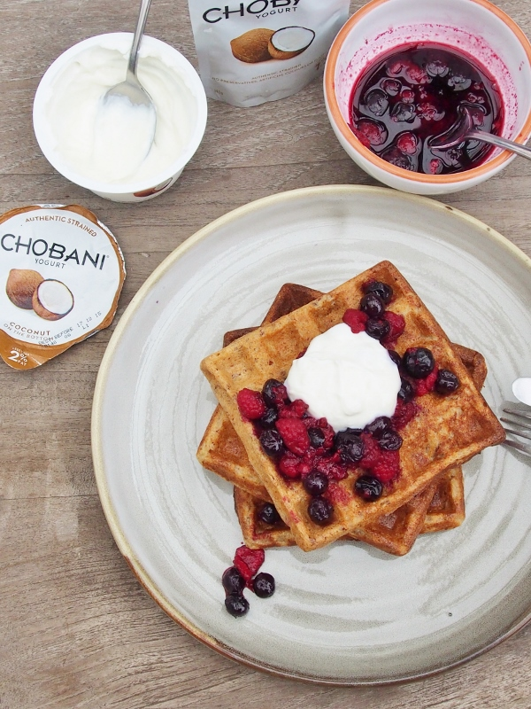 waffles with coconut yoghurt and berry compote