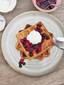 banana oat and linseed waffles