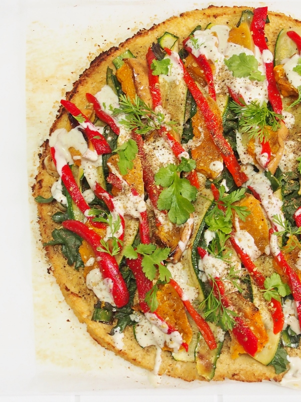 cauliflower pizza with zaatar and tahini sauce