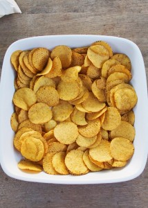 tip corn chips into an oven dish