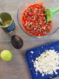 mix beans and salsa together