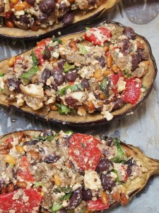stuff the eggplants with the mix and return to the oven...