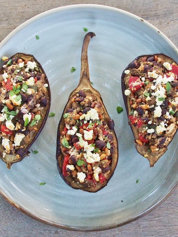 eggplant with pinenuts and feta