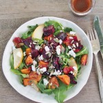 rocket and pear salad with roasted beetroot and sweet potato (GF)