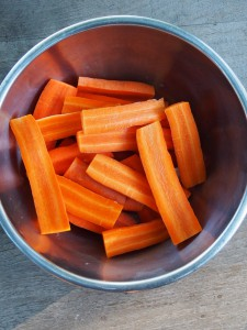 carrots, chopped and ready for roasting