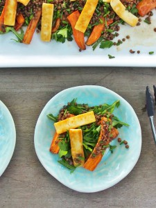 carrot lentil and haloumi salad