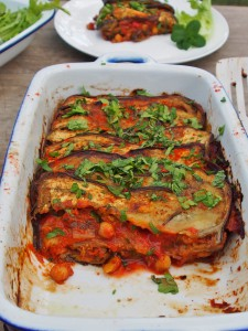 baked eggplant chickpeas and green chilli