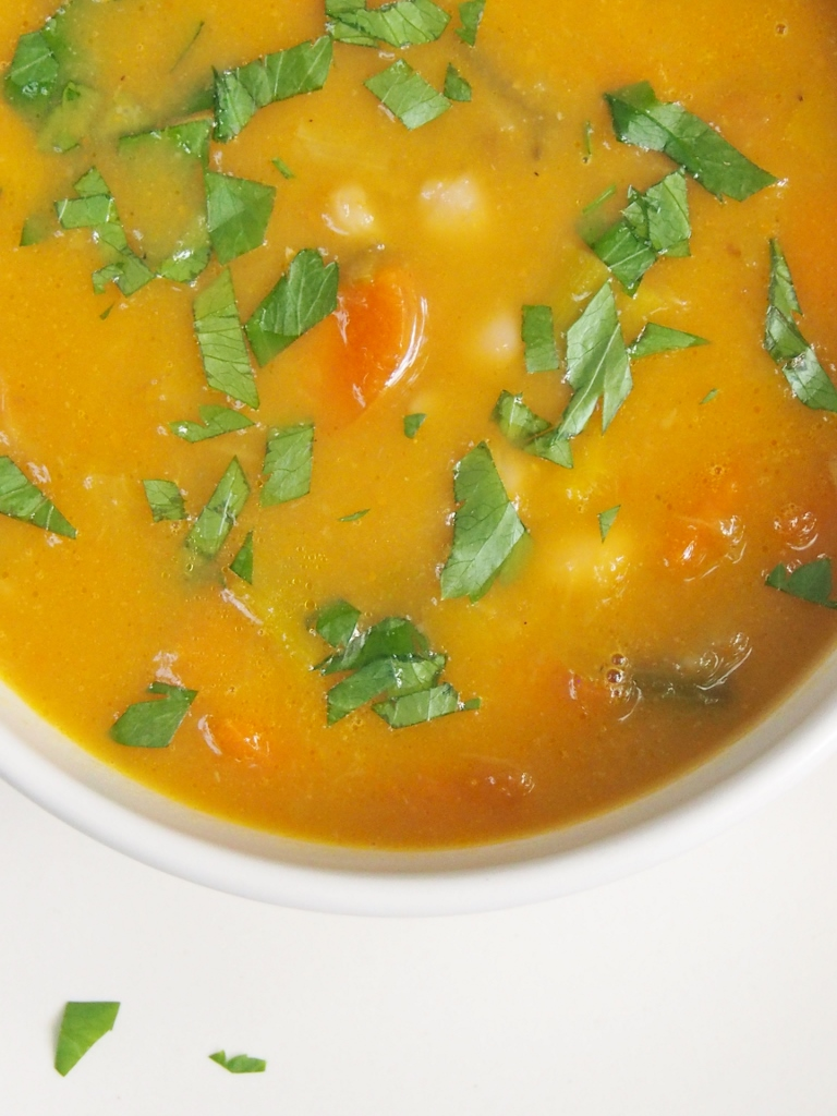 carrot, leek and white bean soup