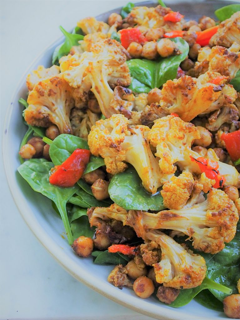 Moroccan roasted cauliflower and chickpea salad