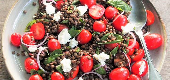 lentil tomato and goats cheese salad