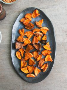 roast pumpkin and cover the base of a serving dish with it