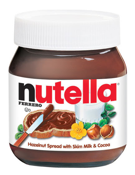 Nutella contains: sugar, palm oil, hazelnuts, milk (skim milk powder and whey powder), cocoa, soy lethicin, and vanillin.