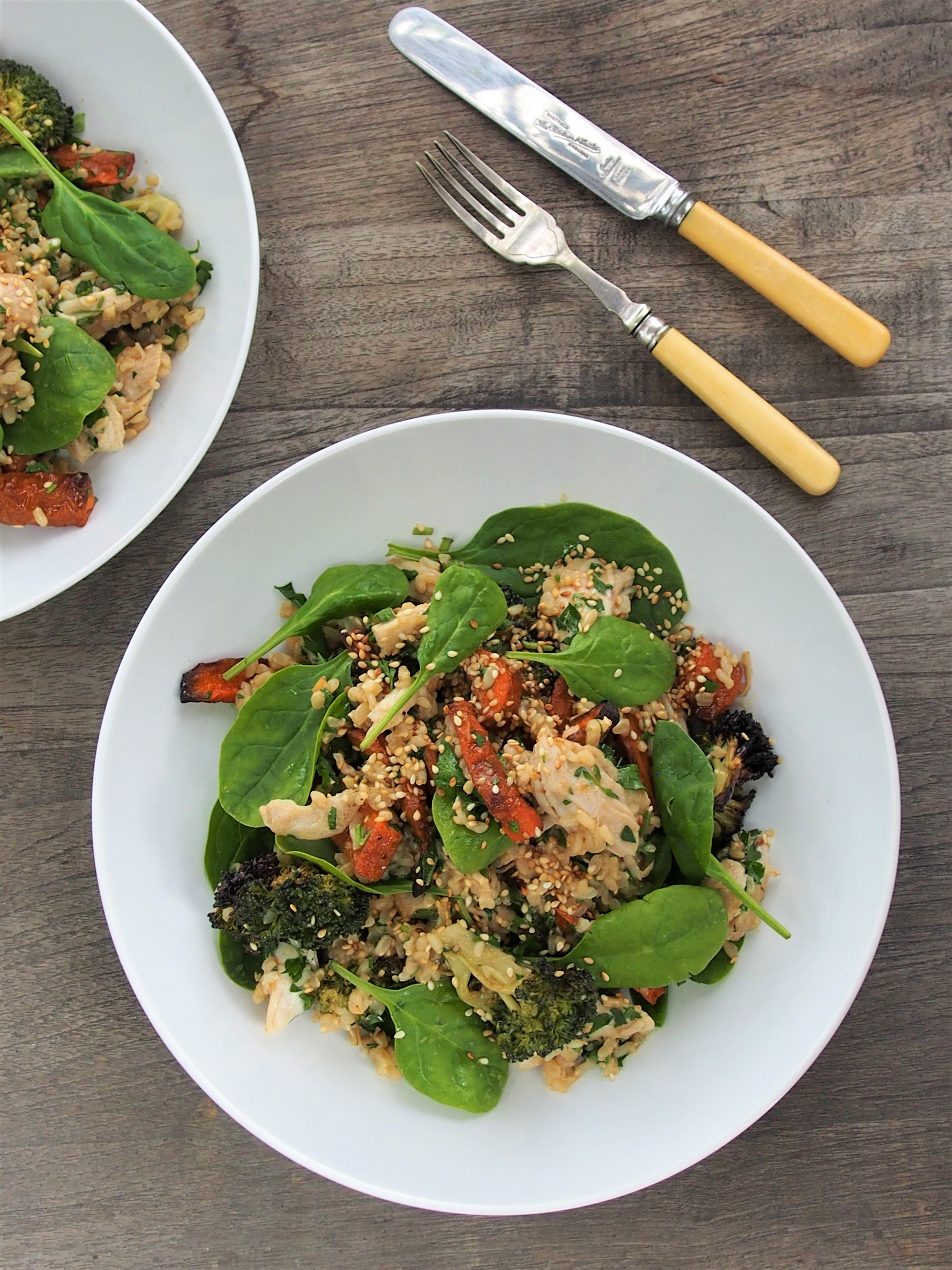 Turkey, Brown Rice and Miso Salad with Roasted Broccoli ...